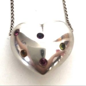 Vintage 925 Sterling Silver Heart Pendant Necklace